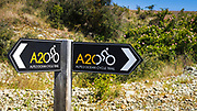 Trail sign on the Alps to Ocean Cycle Trail in the Southern Alps, Canterbury, South Island, New Zealand