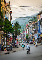 SAPA, VIETNAM - CIRCA SEPTEMBER 2014:  Typical street of Sapa Town in North Vietnam