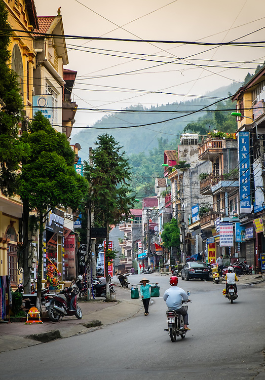 SAPA, VIETNAM - CIRCA SEPTEMBER 2014:  Typical street of Sapa Town in North Vietnam