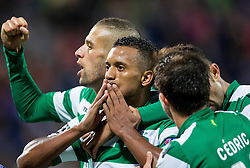 Nani and other players of Sporting celebrate after scoring first goal for Sporting during football match between NK Maribor and Sporting Lisbon (POR) in Group G of Group Stage of UEFA Champions League 2014/15, on September 17, 2014 in Stadium Ljudski vrt, Maribor, Slovenia. Photo by Vid Ponikvar  / Sportida.com