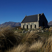 The Church of the Good Shepherd situated on the shores of Lake Tekapo.  It was the first church built in the Mackenzie Basin in 1935 and is now an iconic tourist attraction. Lake Tekapo, South Island, New Zealand, 16th June 2011. Photo Tim Clayton.