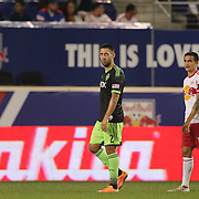 Clint Dempsey, (left), Seattle Sounders, and Tim Cahill, New York Red Bulls, during the New York Red Bulls Vs Seattle Sounders, Major League Soccer regular season match at Red Bull Arena, Harrison, New Jersey. USA. 20th September 2014. Photo Tim Clayton