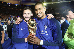 September 9, 2018 - Paris, 93, France - Hugo Lloris, Alphonse Areola of France celebrate with the World Cup Trophy after the UEFA Nations League A group official match between France and Netherlands at Stade de France on September 9, 2018 in Paris, France. This is the first match of the French football team at the Stade de France since their victory in the final of the World Cup in Russia. (Credit Image: © Mehdi Taamallah/NurPhoto/ZUMA Press)