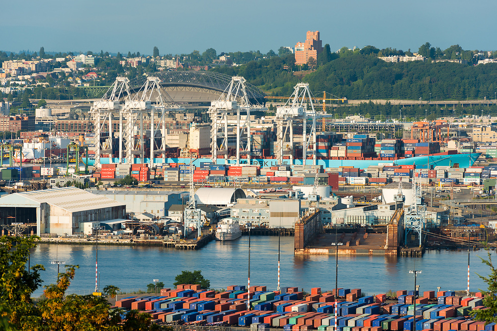 Seattle, Washington State, United States - July 14, 2012: A big cargo ship at port of Seattle in Industrial District.
