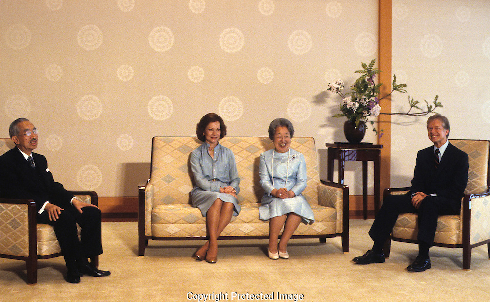 President Jimmy Carter and the First Lady meet Emperor Hirohito and Empress Kojun at Akasaka Palace in July 1979<br /> <br /> This photo won first place in the presidential class of the White House News photographers Association contest.<br /> <br /> Photograph by Dennis Brack<br /> bb45