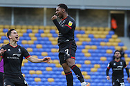 Lincoln City Midfielder Tayo Edun(7) celebrates scoring for lLincoln City 1-0 during the EFL Sky Bet League 1 match between AFC Wimbledon and Lincoln City at Plough Lane, London, United Kingdom on 2 January 2021.