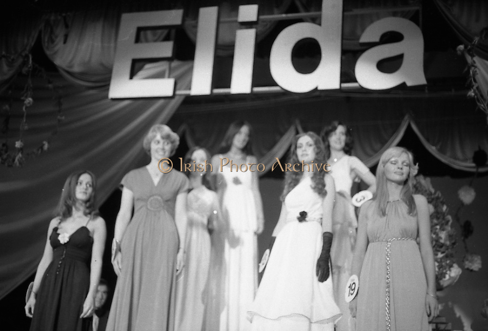 """""""Miss Elida"""" Final At Mosney, Co Meath..1976..01.09.1976..09.01.1976..1st September 1976..The final of the """"Miss Elida"""" lovely hair competition was held in The Gaiety Theatre,Butlins Holiday Centre,Mosney,Co Meath tonight. The competition is sponsored by Lever Bros,Sheriff St,Dublin. The shows compere was Mr Mike Murphy..Picture shows the final group on stage awaiting the announcement of the winner of The Miss Elida competition."""