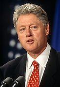 President Bill Clinton answers reporters questions on the Monica Lewinsky scandal September 16, 1998 at the briefing room of the White House in Washington, DC after independent prosecutor Kenneth Starr submitted his report to Congress.  (photo by Richard Ellis)