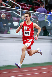 mens 500 meters, heat 4, BU, Hayden Jennings<br /> Boston University Scarlet and White<br /> Indoor Track & Field, Bruce LeHane