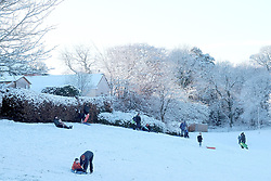 Snow in West Lothian, 29 December 2020<br /> <br /> Snow has fallen in West Lothian and residents of Mid Calder took full advantage by getting out of the house with their sledges to enjoy the slopes.<br /> <br /> Alex Todd | Edinburgh Elite Media