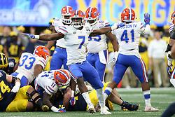 Florida Gators linebacker Jeremiah Moon #7 reacts to a play during the Chick-fil-A Peach Bowl, Saturday, December 29, 2018, in Atlanta. (Jason Parkhurst via Abell Images for Chick-fil-A Peach Bowl)