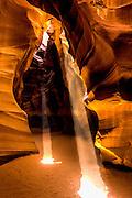 Amazing Double Light Beams Illuminate Upper Antelope Slot Canyon Arizona
