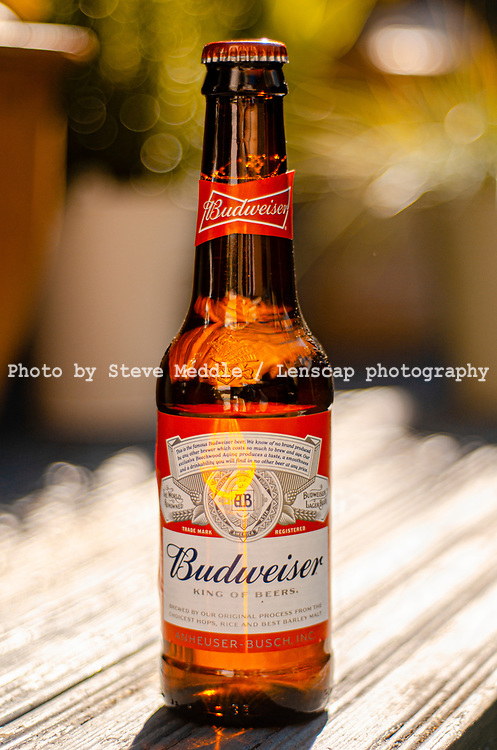London, England - May 16, 2019: Bottle of Budweiser Beer, an American lager first introduced in 1876