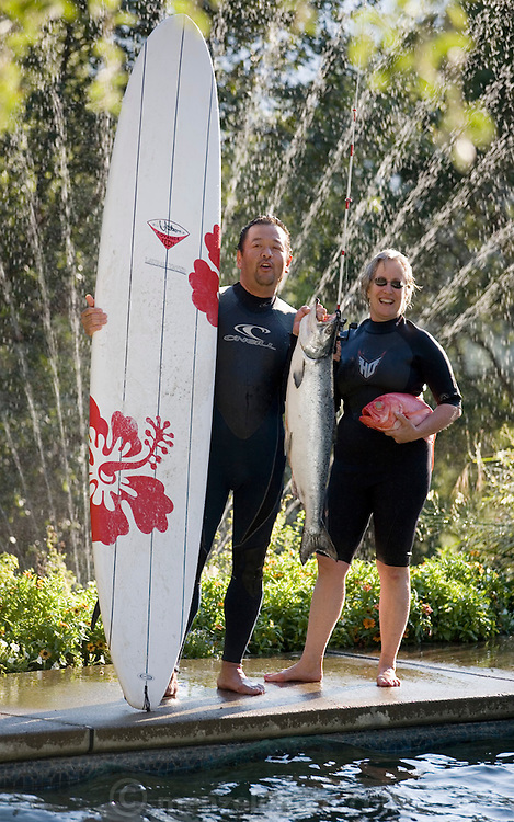 Chef Cindy Pawlcyn and Ken Tominaga by Cindy's swimming pool in St. Helena, CA. Napa Valley. Cindy is opening a new restaurant with Ken Tominaga called Go Fish..