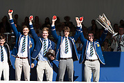 """Henley on Thames, United Kingdom, 8th July 2018, Sunday, View,  """"Fifth day"""", of the annual,  """"Henley Royal Regatta"""", Henley Reach, River Thames, Thames Valley, England, © Peter SPURRIER, Prize Giving,The Prince Albert Challenge Cup - 2018<br /> Imperial College London,"""
