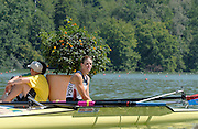 Lucerne, SWITZERLAND,  A Finals, USA W2- Megan COOKE, waits in the shade for a new partner, to row the boat away from the awards dock while Bronze Medallist, partner Anna MICKELSON is checked by the medicial staff, after suffering from heat exaustion, at the 2007 FISA World Cup, Lucerne, on the Rotsee Lake, 15/07/2007  [Mandatory Credit Peter Spurrier/ Intersport Images] , Rowing Course, Lake Rottsee, Lucerne, SWITZERLAND.