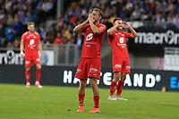 Fotball , 15. juni 2019 , Eliteserien,<br />Haugesund - Brann Bergen<br />Petter Strand fra Brann Bergen i aksjon mot Haugesund.<br />Foto: Andrew Halseid Budd , Digitalsport