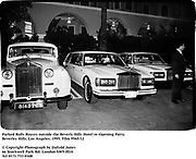 Parked Rolls Royces outside the Beverly Hills Hotel re-Opening Party.Beverley Hills. Los Angeles. 1995. Film 9565/12<br /><br />© Copyright Photograph by Dafydd Jones<br />66 Stockwell Park Rd. London SW9 0DA<br />Tel 0171 733 0108