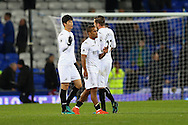 Swansea city players Ki Sung Yueng, Wayne Routledge and Gylfi Sigurdsson (r)  looking dejected at the final whistle. Premier league match, Everton v Swansea city at Goodison Park in Liverpool, Merseyside on Saturday 19th November 2016.<br /> pic by Chris Stading, Andrew Orchard sports photography.