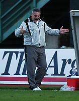 Photo: Alan Crowhurst.<br />Brighton & Hove Albion v Cardiff City. Coca Cola Championship. 15/10/2005.Cardiff manager Dave Jones thinks about a near miss.