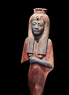 Ancient Egyptian voitive statue of Nefratari, New Kingdom, 19th -20th Dynasty, (1292-1076 BC, Deir el-Medina. Egyptian Museum, Turin. Cat 1349. black background.<br /> <br /> Queen Ahmose Neferatari, wife and mother of Amenhoptec I show the great devotion she was held in by ancient Egyptians. The inscription on the base name the dedicators of the statue .<br /> <br /> If you prefer to buy from our ALAMY PHOTO LIBRARY  Collection visit : https://www.alamy.com/portfolio/paul-williams-funkystock/ancient-egyptian-art-artefacts.html  . Type -   Turin   - into the LOWER SEARCH WITHIN GALLERY box. Refine search by adding background colour, subject etc<br /> <br /> Visit our ANCIENT WORLD PHOTO COLLECTIONS for more photos to download or buy as wall art prints https://funkystock.photoshelter.com/gallery-collection/Ancient-World-Art-Antiquities-Historic-Sites-Pictures-Images-of/C00006u26yqSkDOM
