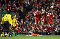 Photo: Paul Thomas.<br /> Liverpool v Arsenal. Carling Cup. 09/01/2007.<br /> <br /> Julio Baptista, (2nd L, partially obstructed) of Arsenal kicks his free kick over the Liverpool wall to score.