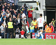 Neeskens Kebano of Fulham celebrating his goal during the Sky Bet Championship match at Craven Cottage, London<br /> Picture by Richard Brooks/Focus Images Ltd 07947656233<br /> 17/04/2017