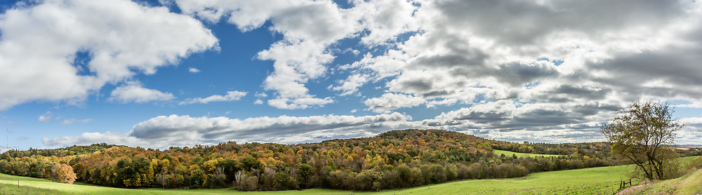 Baraboo Range panorama, taken in the Reedsburg area October 16, 2019, with fall colors at or near their peak.