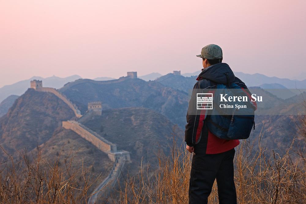 Hiker on Great Wall, Jinshanling, Hebei, China