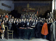 Gerard ter Borch (1617 – 1681). 'The swearing of the oath of ratification of the treaty of Munster in 1648'. Ratification of the Peace of Westphalia 1648 in Munster. Date 1648 Oil on copper
