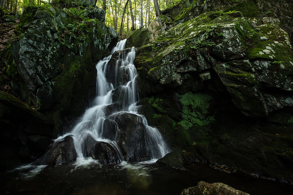 The late summer flow of water at Goldmine Brook Falls in Chester, MA.