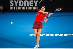 January 10, 2019 - Sydney, NSW, U.S. - SYDNEY, AUSTRALIA - JANUARY 10: Petra Kvitova (CZE) hits a backhand at The Sydney International Tennis in the match between Angelique Kerber (GER) and Petra Kvitova (CZE) on January 10, 2018, at Sydney Olympic Park Tennis Centre in Homebush, Australia. (Photo by Speed Media/Icon Sportswire) (Credit Image: © Steven Markham/Icon SMI via ZUMA Press)