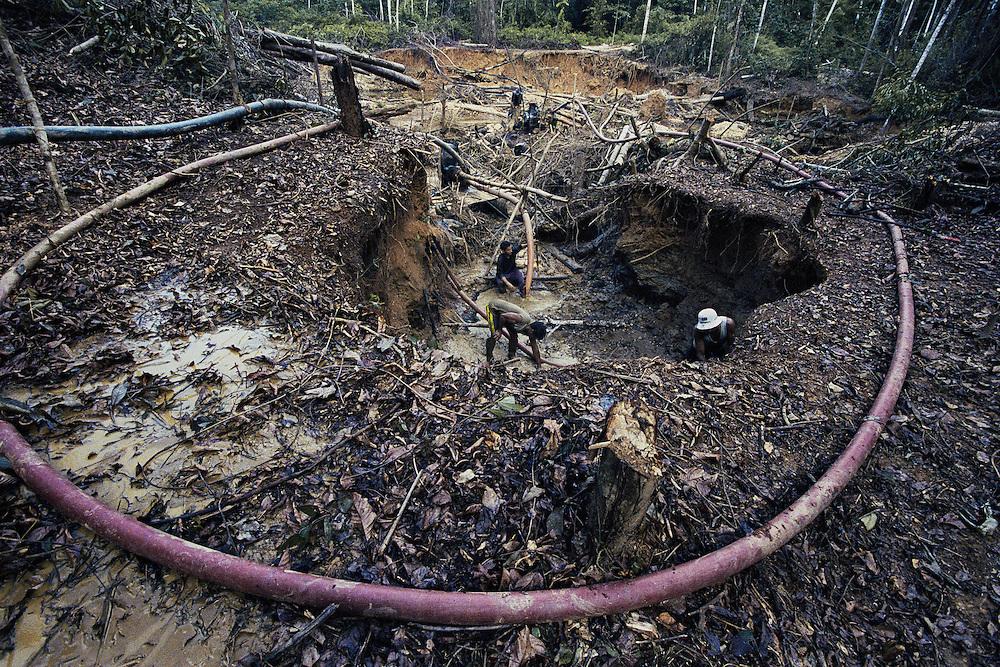 Guyane française, boca do jacare, crique Ipoussing.<br /> <br /> Orpaillage clandestin bresilien.<br /> <br /> On cherche ici les paillettes d'or contenues dans le sol. On creuse d'abord des barranques au fond desquelles les ouvriers travaillent la couche de graviers auriferes.<br /> Un garimpeiro recupere les gravats les plus lourds en les aspirant avec une suceuse qui les emmenes jusqu'a une table ou ils seront traites.