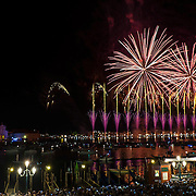 VENICE, ITALY - JULY 19:  Fireworks explode over the St. Mark's Basin and S. George Island for the Redentore Celebrations on July 19, 2014 in Venice, Italy. Redentore , which is in remembrance of the end of the 1577 plague, is one of Venice's most loved celebrations. Highlights of the celebration include the pontoon bridge extending across the Giudecca Canal, gatherings on boats in the St. Mark's Basin and a spectacular fireworks display.  (Photo by Marco Secchi/Getty Images)