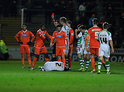 Blackpool's Ricardo Fuller receives a red card. - Photo mandatory by-line: Dougie Allward/JMP - Tel: Mobile: 07966 386802 03/12/2013 - SPORT - Football - Yeovil - Huish Park - Yeovil Town v Blackpool - Sky Bet Championship