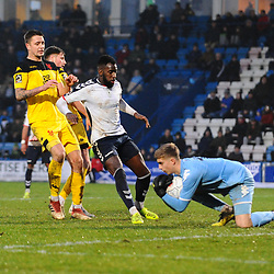 TELFORD COPYRIGHT MIKE SHERIDAN 19/1/2019 - Tomas Palmer saves at the feet of Amari Morgan Smith of AFC Telford during the Vanarama Conference North fixture between AFC Telford United and Kidderminster Harriers
