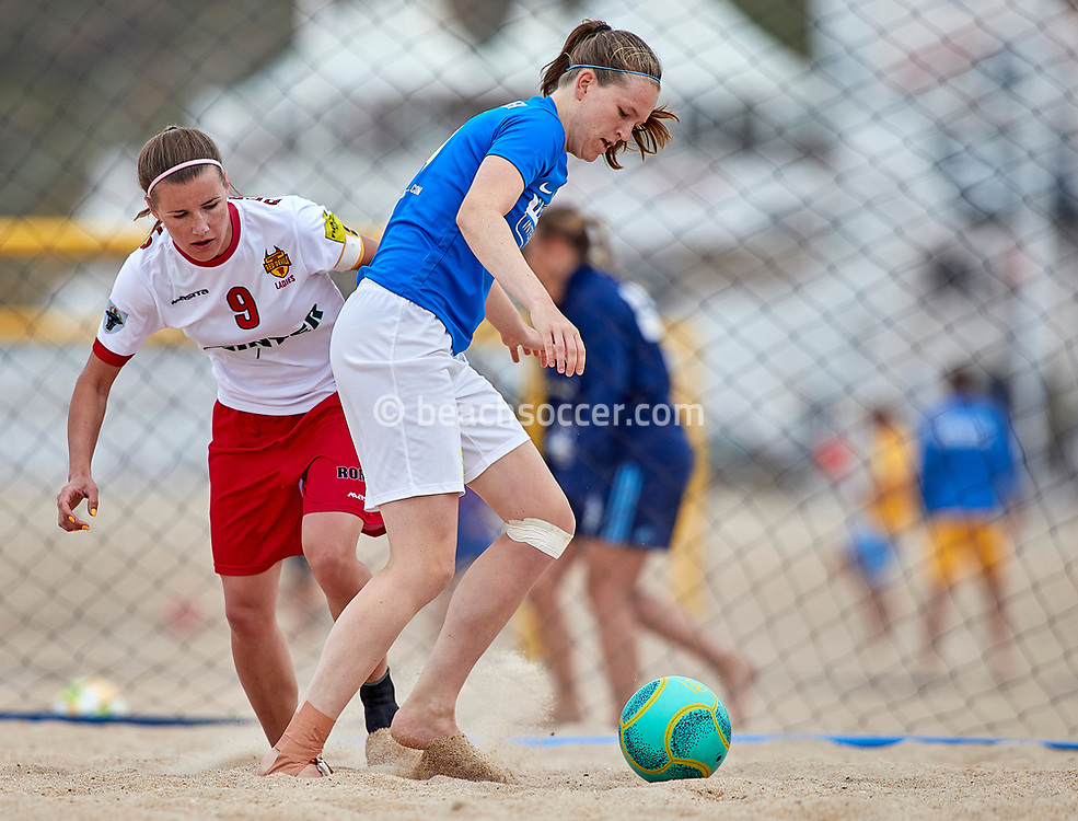 NAZARE, PORTUGAL - JUNE 6: Gera Op Den Kelder of Beachsoccer DTS Ede and Magdalena Szpera of Red Devils Ladies during the Euro Winners Cup Nazaré 2019 at Nazaré Beach on June 6, 2019 in Nazaré, Portugal. (Photo by Jose M. Alvarez)