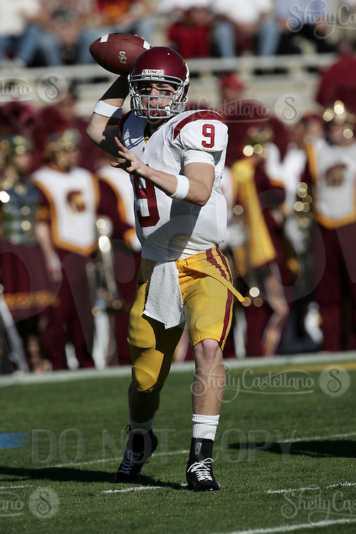 2 December 2006: QB Tyler Davis with the ball during warmups before the Pac-10 college football upset UCLA beat the Trojans 13-9 during the final home game of the season for the UCLA Bruins vs the University of Southern California USC  Trojans at the Rose Bowl in Pasadena, CA.<br />