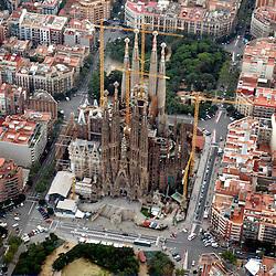 Aerial view of Sagrada Família, Barcelona,