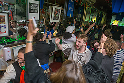 © Licensed to London News Pictures.  06/07/2021. London, UK. Italian football supporters celebrate their victory over Spain during the EURO 2020 in Bar Italia, Soho, central London. Photo credit: Marcin Nowak/LNP