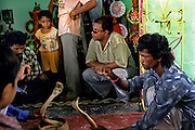 In Bishnapur in the state of West Bengal in East India the ritualistic tradition of charming the Cobras before the Manasa Hindu festival takes place in the entrance of a Hindu temple..