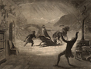Henry Iriving (1838-1905) English actor-manager, playing in the first production of 'The Bells' which made him famous overnight.  Here Mathias (Irving) dreams of the incident 15 years before when he killed a Polish Jew.  Lyceum Theatre, London, 1871.  From 'The Illustrated London News' (London, 1871). Engraving.