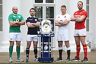 (L to R) Rory Best, the Ireland captain, Greig Laidlaw, the Scotland captain, Dylan Hartley, the England captain and Alun Wyn Jones, the Wales captain pose with the Triple Crown Trophy. RBS Six Nations 2017 media launch at the Hurlingham Club, Ranelagh Gardens in London on Wednesday 25th January 2017.<br /> pic by John Patrick Fletcher, Andrew Orchard sports photography.