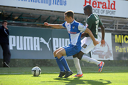 Bristol Rovers' Tom Lockyer holds off Plymouth Argyle's Marvin Morgan  - Photo mandatory by-line: Dougie Allward/JMP - Tel: Mobile: 07966 386802 07/09/2013 - SPORT - FOOTBALL -  Home Park - Plymouth - Plymouth Argyle V Bristol Rovers - Sky Bet League Two