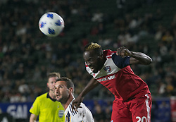 May 30, 2018 - Carson, California, U.S - Roland Lamah #20 of FC Dallas heads a ball during their MLS game against LA Galaxy on Wednesday, May 30, 2018 at the Stub Hub Center in Carson, California. LA Galaxy Lose to FC Dallas, 2-3. (Credit Image: © Prensa Internacional via ZUMA Wire)