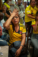 Football fans from Colombial watch their national team's Russia 2018 World Cup Group H match against Senegal. Irun (Basque Country). June 24, 2018. (Gari Garaialde / BostokPhoto)