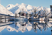 Alaska. Valdez. Small boat harbor. Chugach mountains in reflection of Prince William Sound.