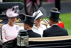 The Duchess of Sussex and Sophie the Countess of Wessex (left) during day one of Royal Ascot at Ascot Racecourse.
