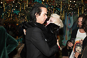 NICK CAVE; PAM HOGG, Nick Cave and the Bad Seeds with The Vampire's Wife and Matchesfashion.com party to celebrate the end of their 2017 World tour. Lou lou's. Hertford St. Mayfair.