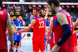 25.09.2015, MHP Aren, Ludwigsburg, GER, Volleyball Vier Nationen Turnier, Slowenien vs Serbien, im Bild Aleksandar Okolic #22 (Serbien/Serbia) // during the match between Slovenia and Serbia of the Volleyball four Nations Tournament at the MHP Aren in Ludwigsburg, Germany on 2015/09/25. EXPA Pictures © 2015, PhotoCredit: EXPA/ Eibner-Pressefoto/ Wuechner<br /> <br /> *****ATTENTION - OUT of GER*****